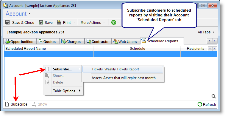 Scheduled Reports to Customers