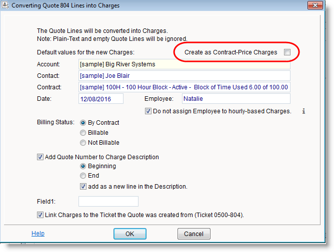 Convert quote to contract-price charges