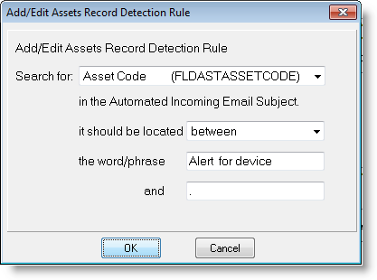 Email connector setup processing automated settings asset detection rules.png